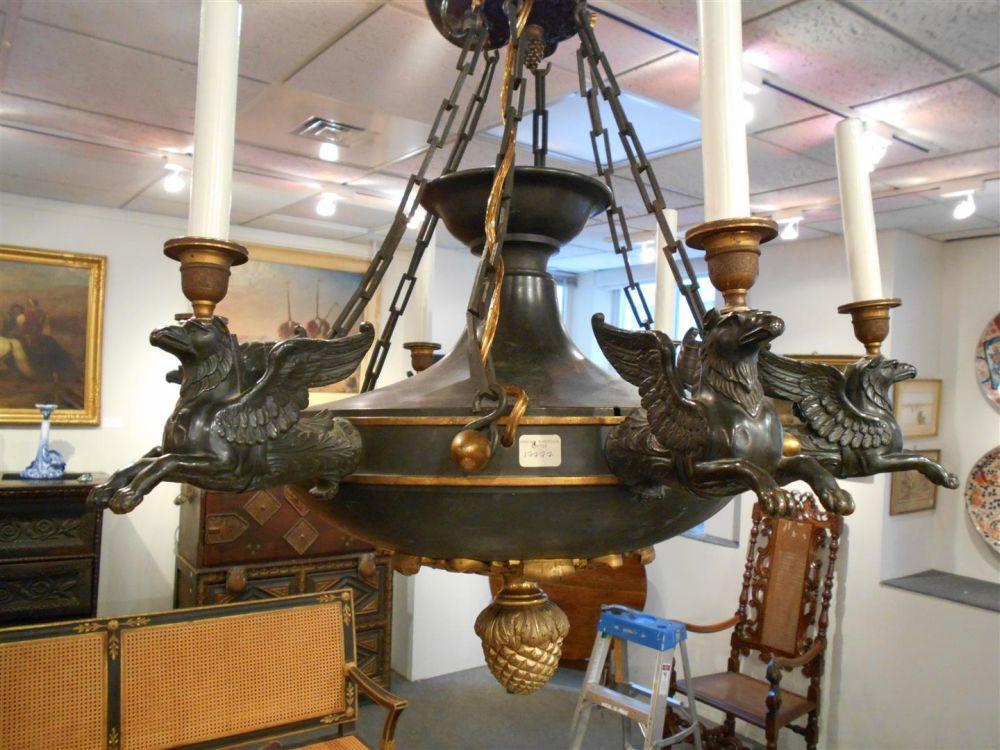 Egyptian Revival Six-light Chandelier
