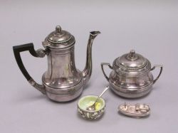 Continental .935 Teapot and Sugar, Whiting Blown-out Glass and Sterling Silver Salt with Spoon and a Small Figural Boat.