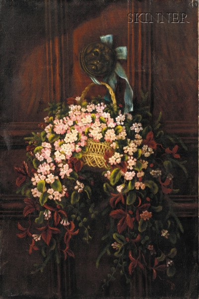 American School, 19th Century      Still Life with Hanging Basket of Trailing Arbutus
