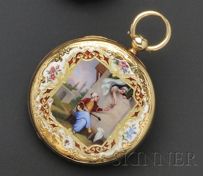 Antique 18kt Gold Open Face Enamel Pocket Watch, Badollet