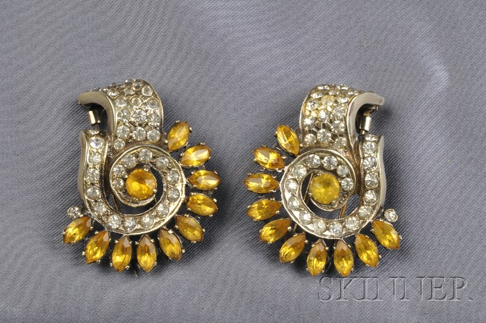 Pair of Silver Gilt and Crystal Rhinestone Clip/Brooches, Eisenberg