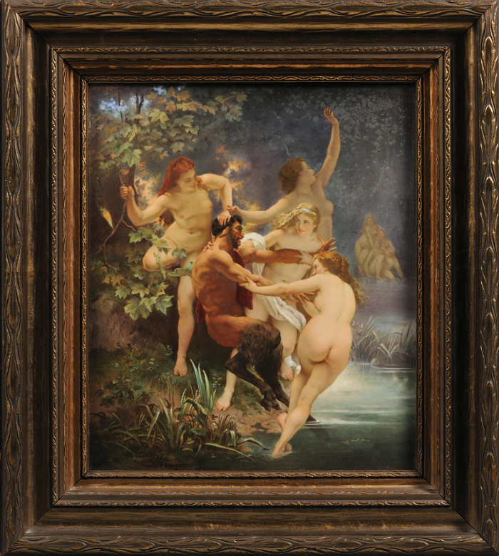 "Berlin Painted Porcelain Plaque ""Nymphs and Satyr"" After   William-Adolphe Bouguereau"