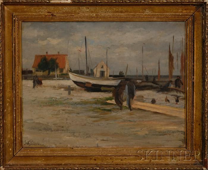 Sally Philipsen (Danish, 1879-1936)      Harbor Scene.