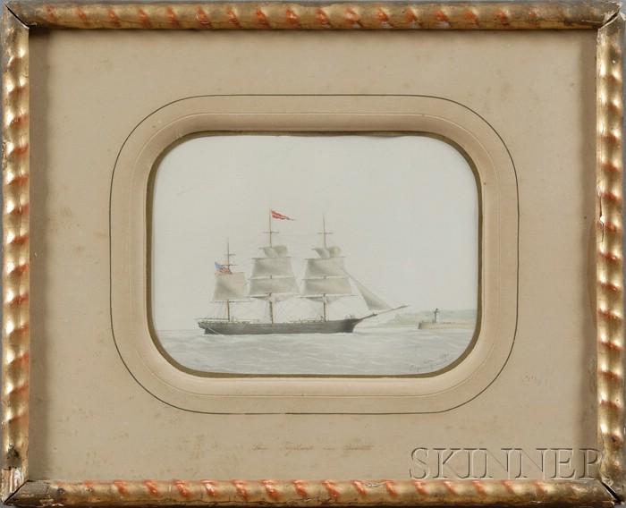 Eugene Grandin (French, 1833-1919)      Ship Vigilant   Cap'n Bosworth.  Entering LeHavre, France.