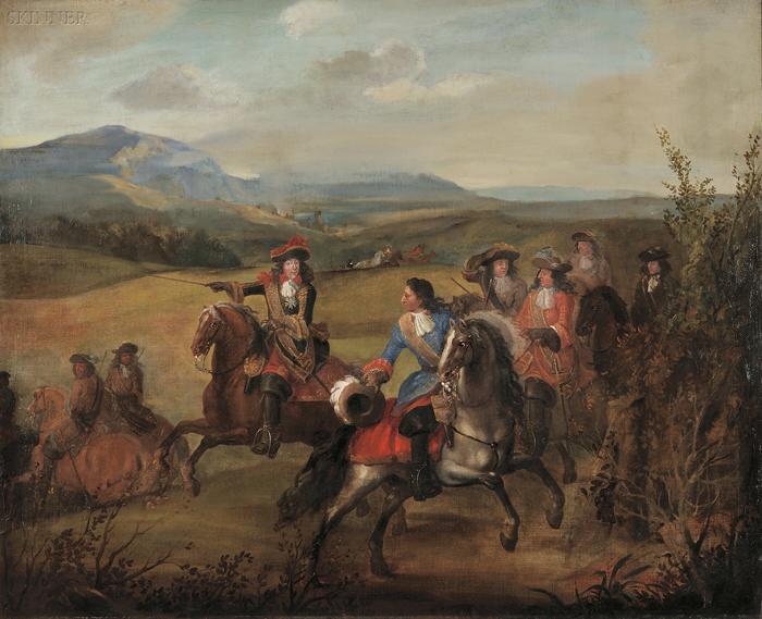 Manner of Adam Frans van der Meulen (Flemish, 1632-1690)      The Hunting Party
