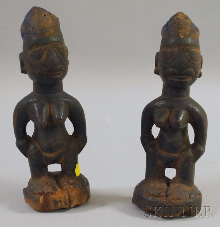 Pair of Carved Wooden Ibeji Dolls