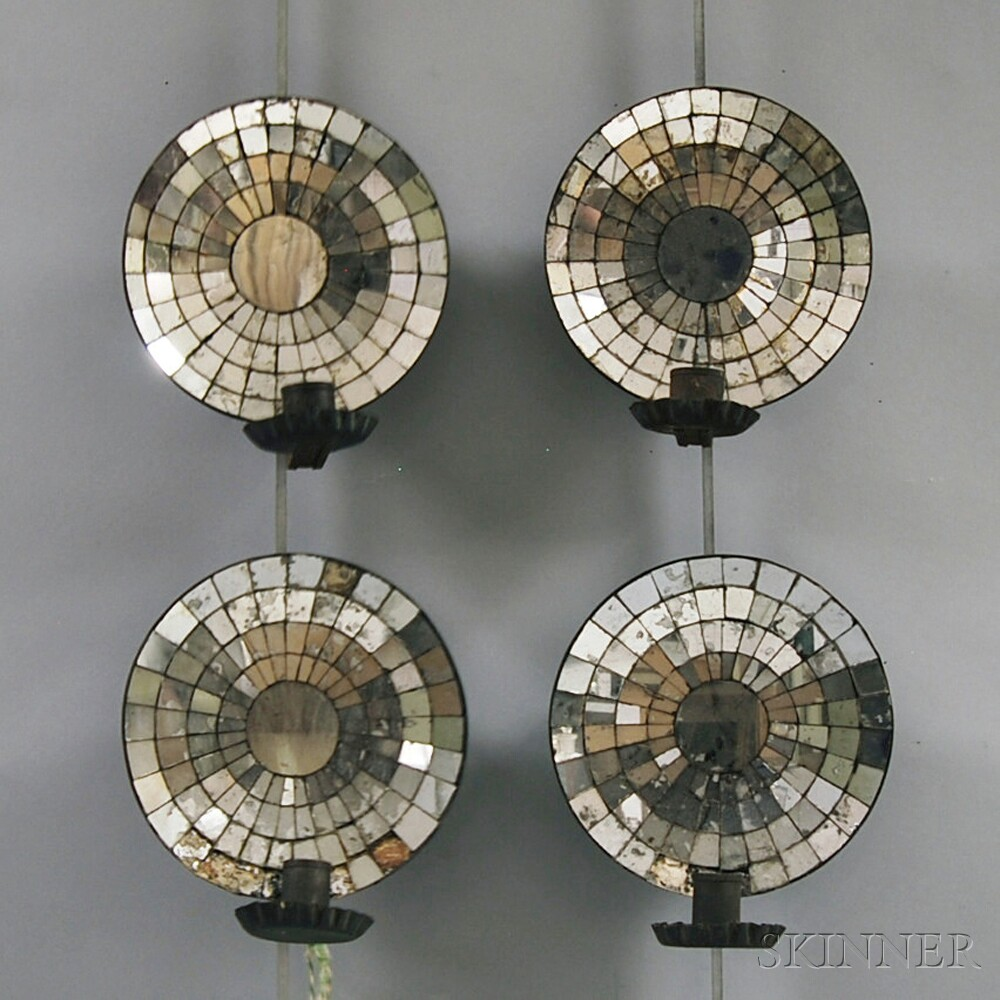 Two Pairs of Round, Mirrored Tin Wall Sconces