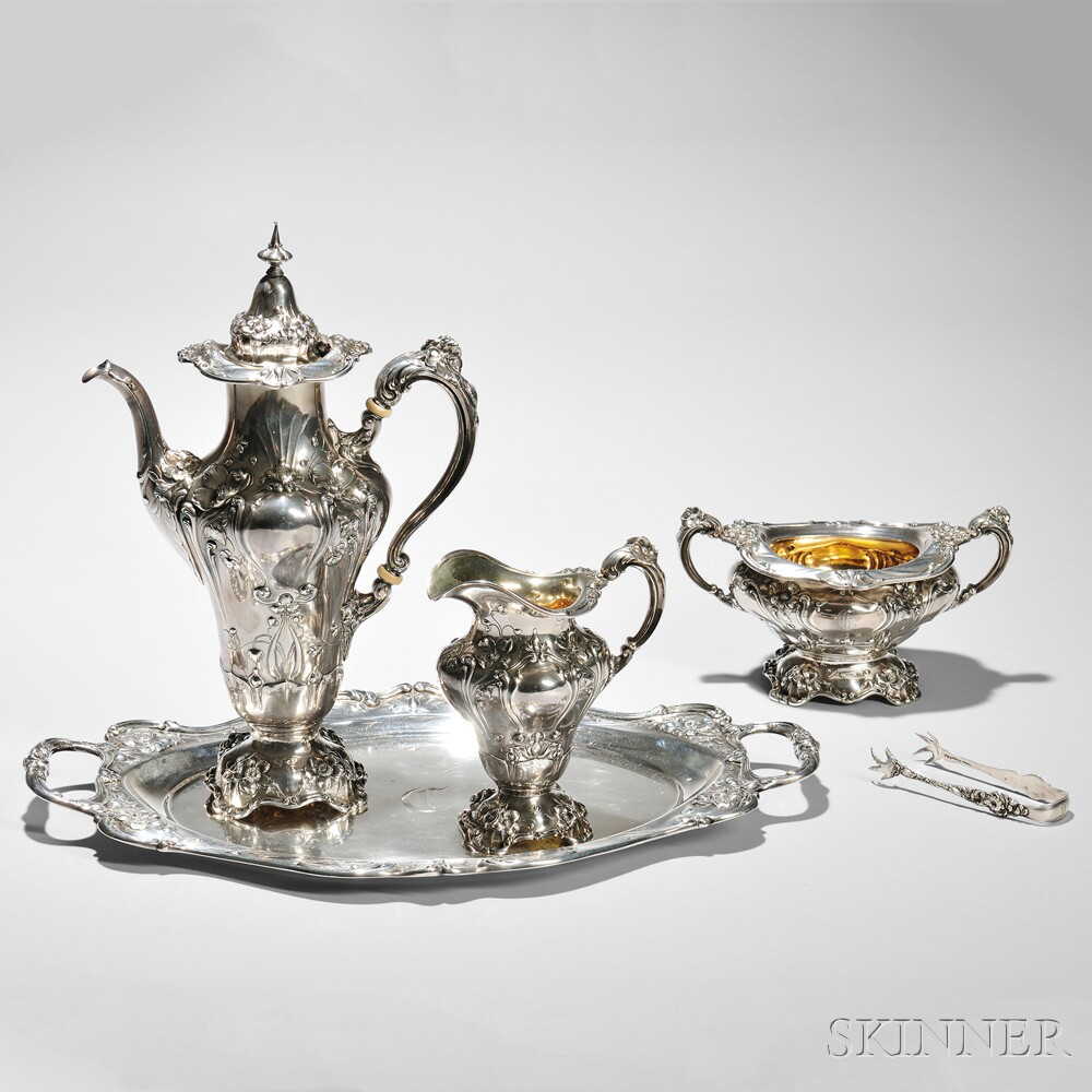 Five-piece Reed & Barton Sterling Silver Coffee Service