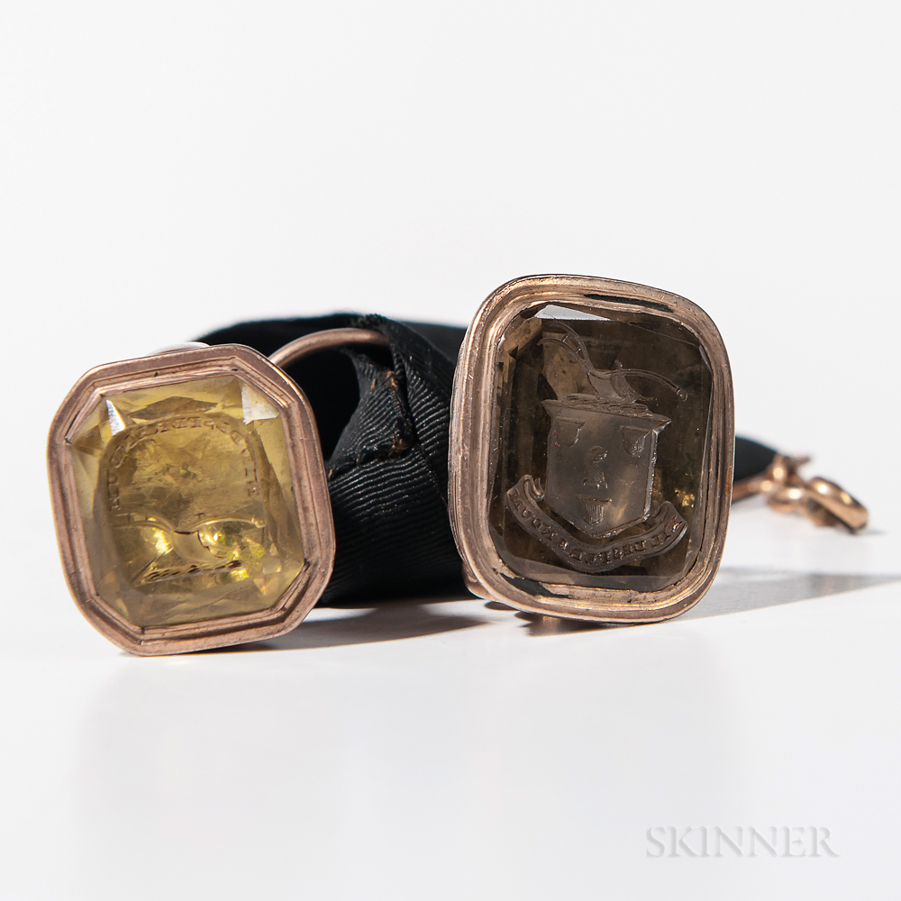Two Gold-filled Intaglio Fobs