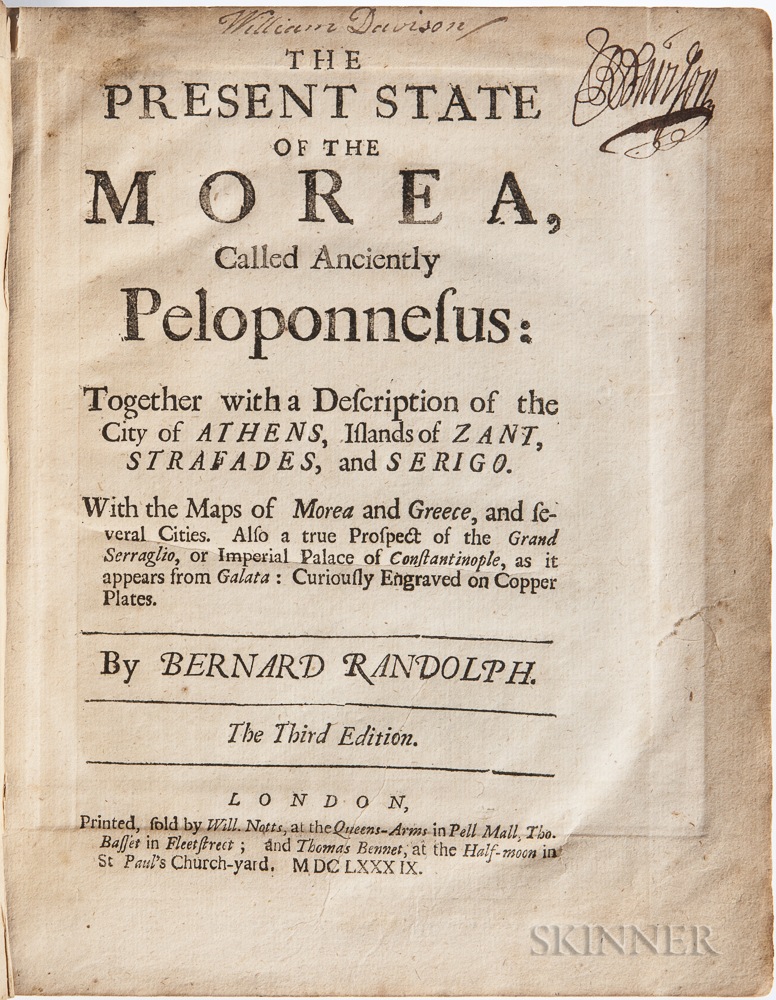 Randolph, Bernard (b. 1643) The Present State of the Morea, Called Anciently Peloponnesus: Together with a Description of the City of A