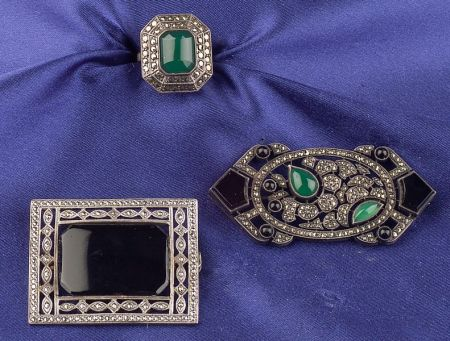 Three Art Deco Silver, Hardstone, and Marcasite Jewelry Items