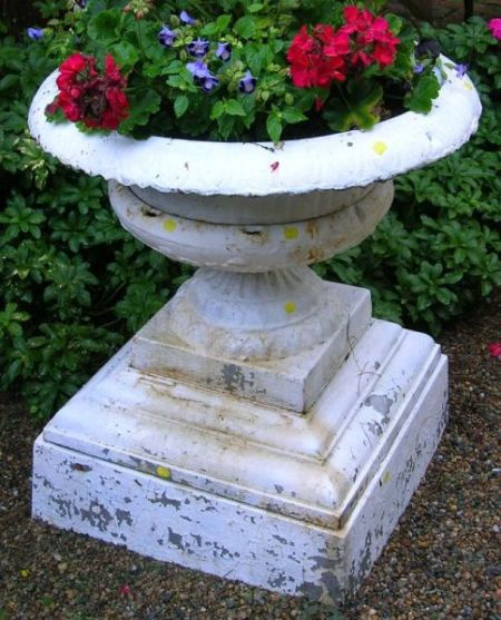 Three White Painted Cast Iron Garden Urns