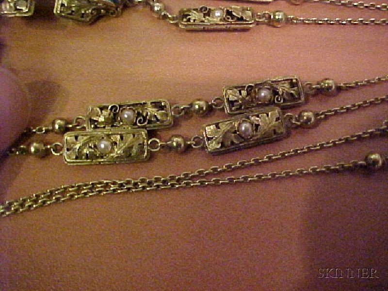Arts & Crafts Green Tourmaline, Pearl, and Onyx Cross and Chain, Edward Oakes