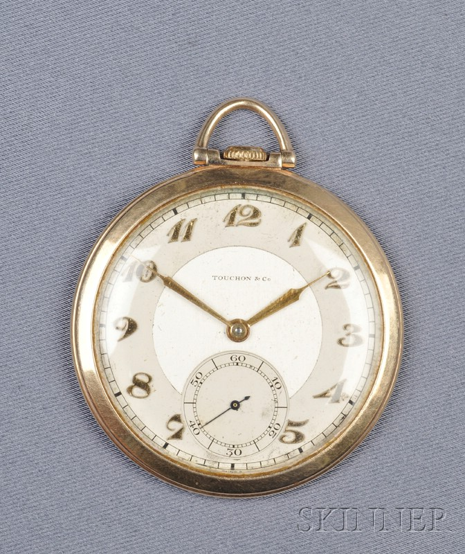"Art Deco 14kt Gold Open Face ""Bosun's Whistle"" Pocket Watch, Touchon"