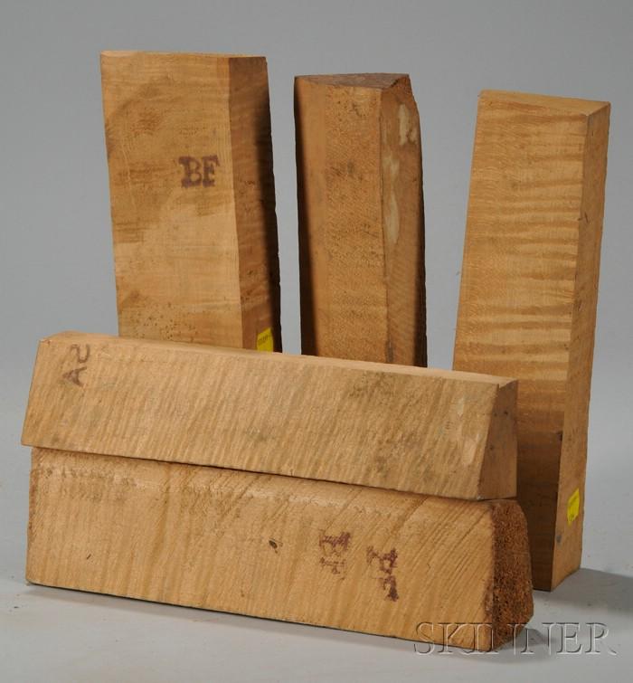 Five Maple Violin Neck Blocks.