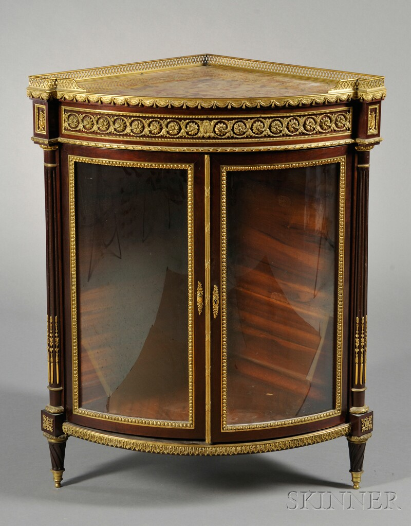 Louis XVI-style Gilt-bronze-mounted and Marble-top Mahogany Corner Cabinet