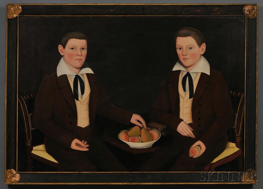 Ammi Phillips (American, 1788-1865) Double Portrait of the Ten Broeck Twins, Jacob Wessel Ten Broeck (1823-1896) and William Henry Ten