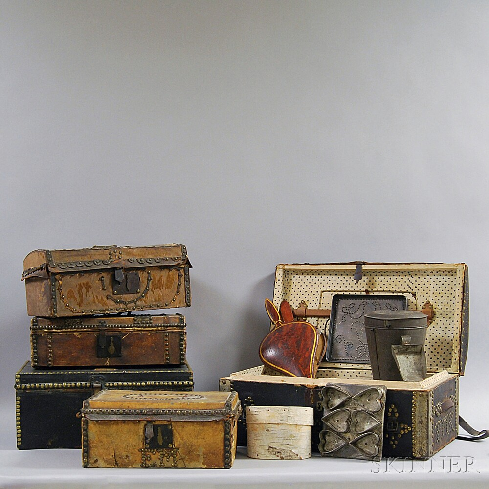 Five Leather Boxes and Miscellaneous Domestic Items