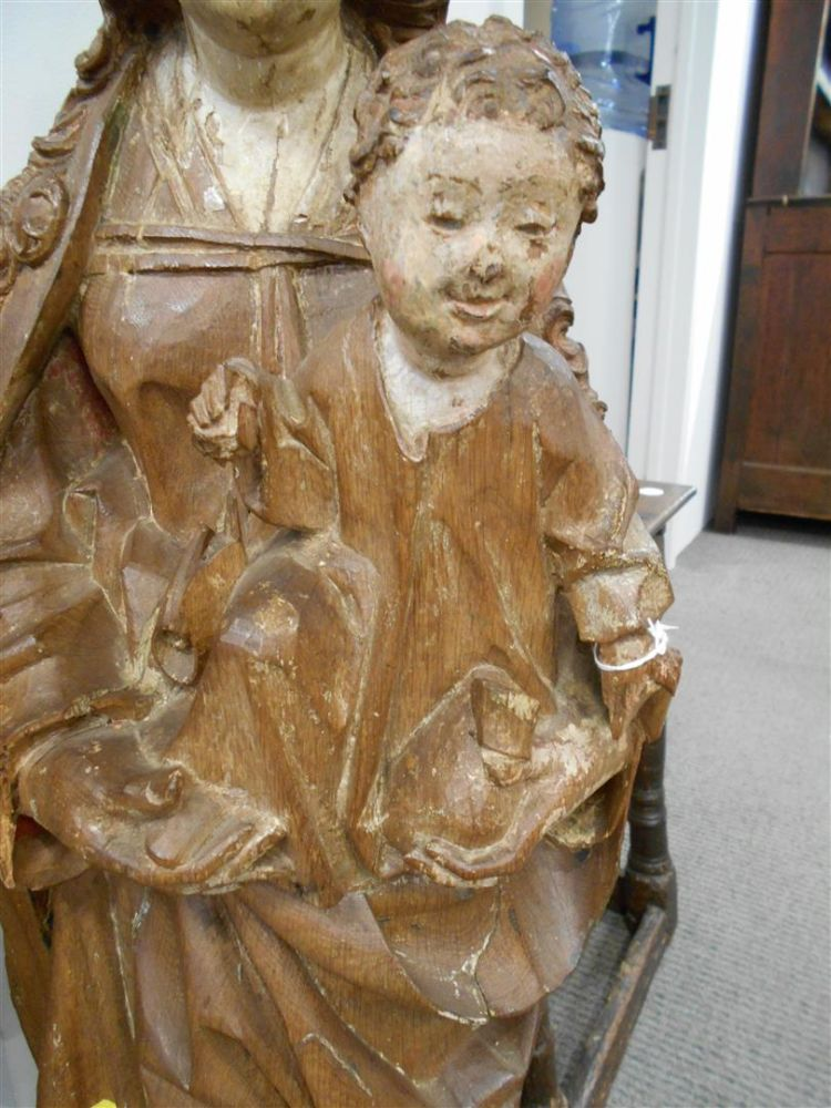 Carved Wood Figure of the Madonna and Child
