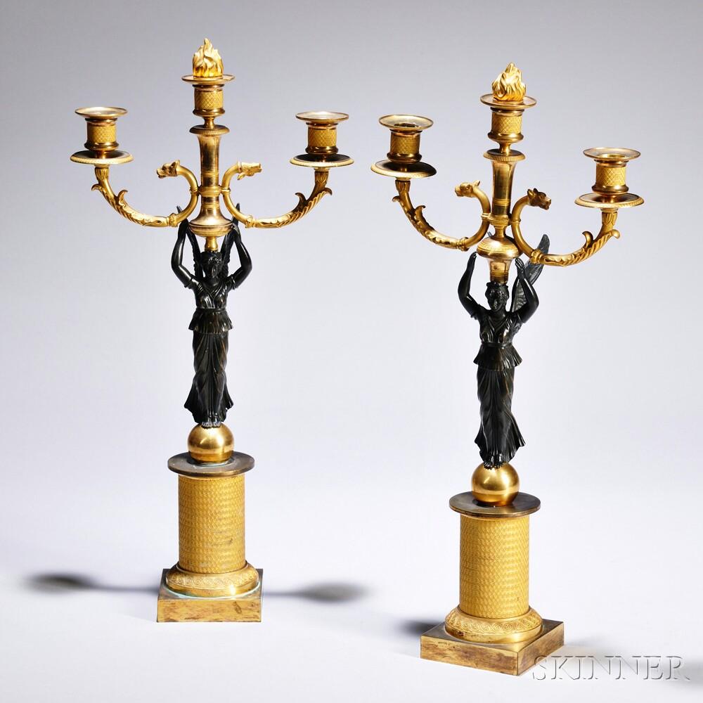 Pair of Empire-style Gilt-bronze Three-light Candelabra