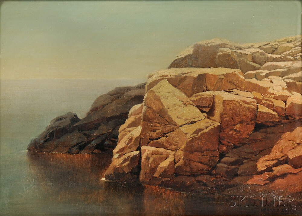 Henry Pember Smith (American, 1854-1907)    Tranquil Waters by a Rocky Shore