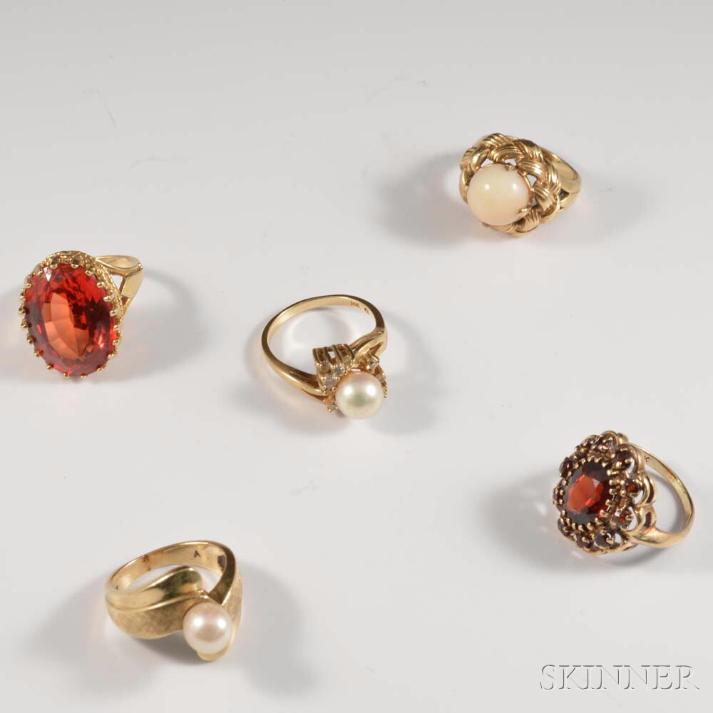 Five 14kt Gold Gem- and Pearl-set Rings