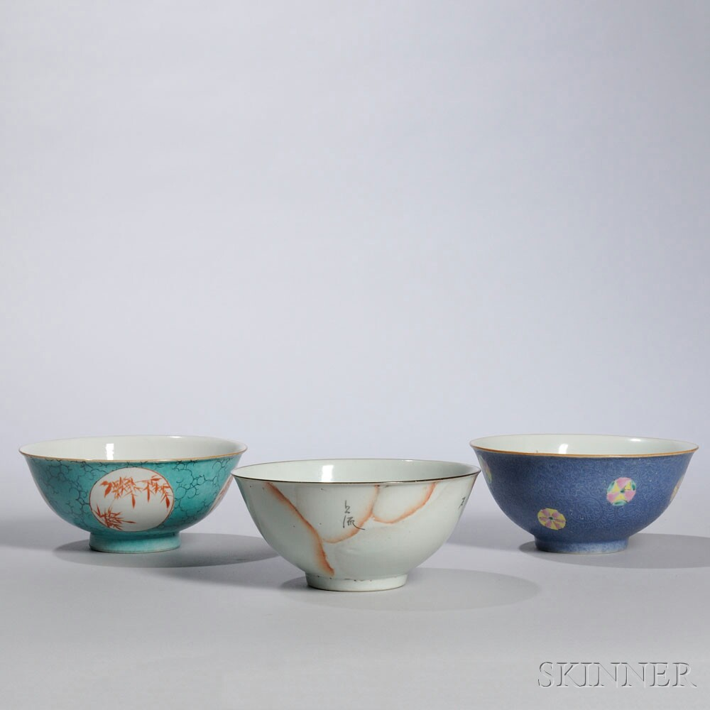 Three White Porcelain Bowls