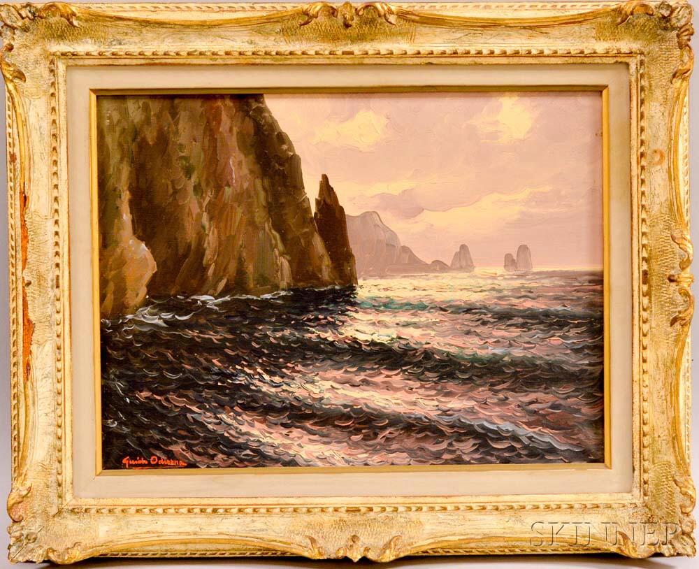 Guido Odierna (Italian, 1913-1991)      Cliffs and Ocean.