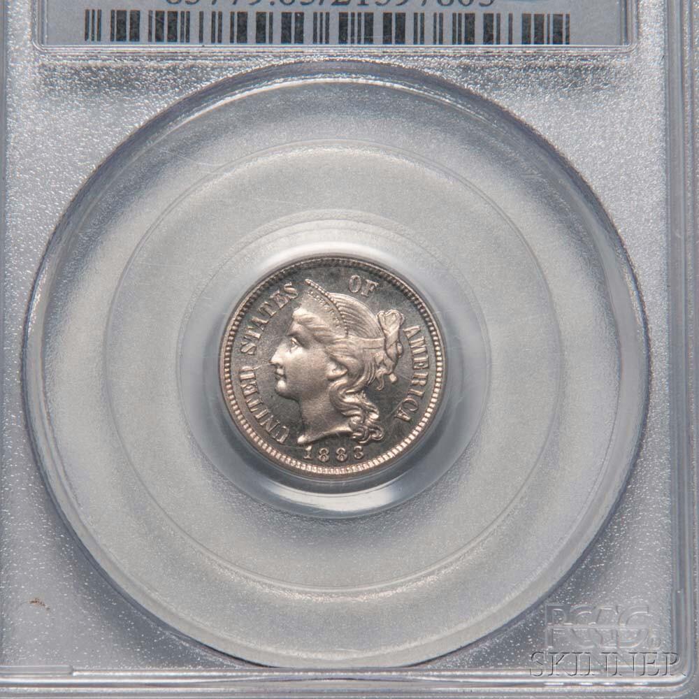 1883 Three Cent Nickel Trime, PCGS PR65CAM CAC.     Estimate $400-600