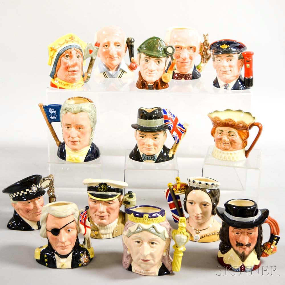 Fourteen Small Royal Doulton Ceramic Character Jugs.     Estimate $300-500