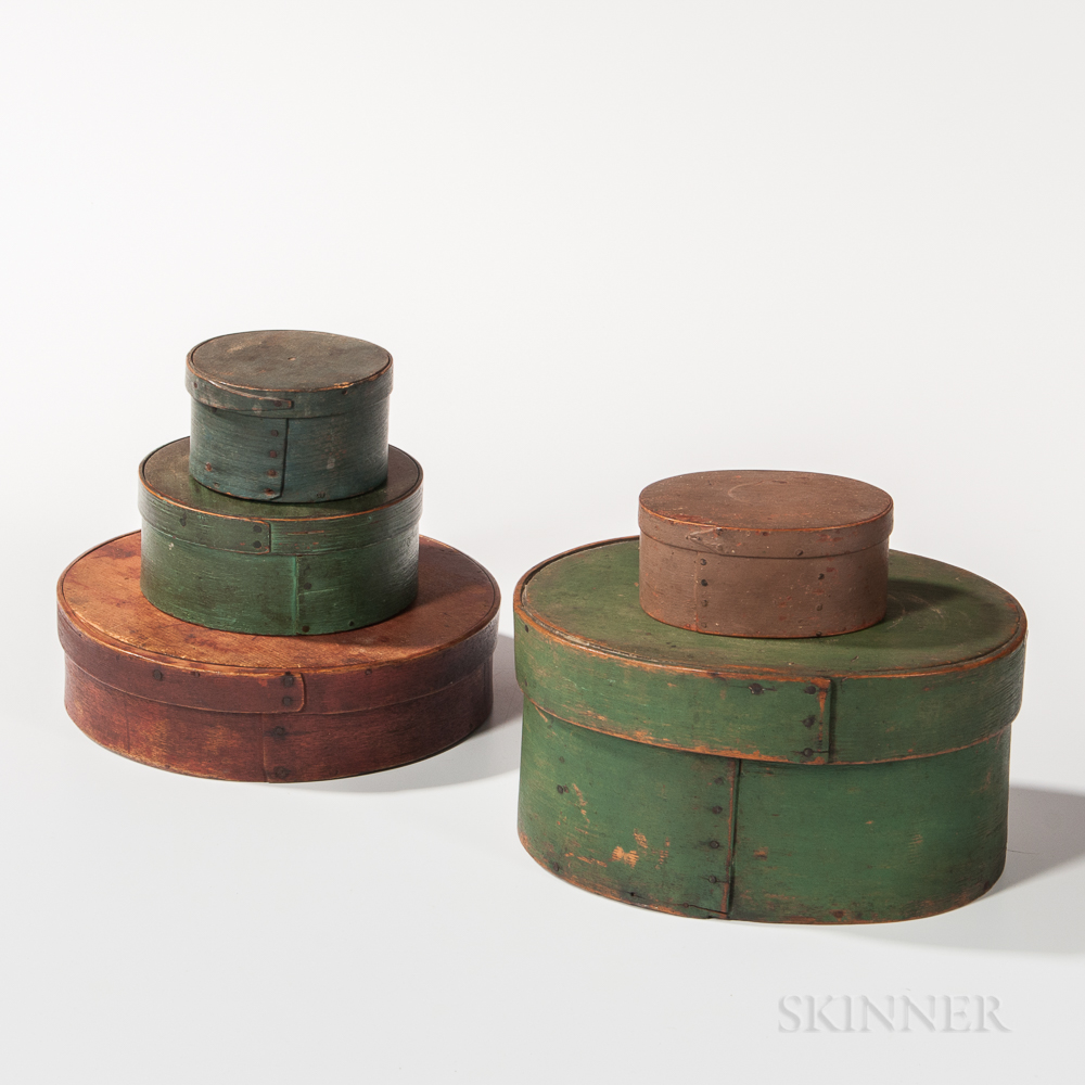 Stack of Five Painted Pantry Boxes