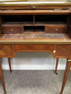 Louis XVI Style Marble-top Tulipwood Parquetry Cylinder Writing Desk.