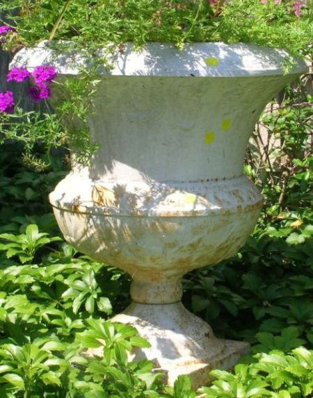Pair of White Painted Cast Iron Garden Urns with Pedestal Bases