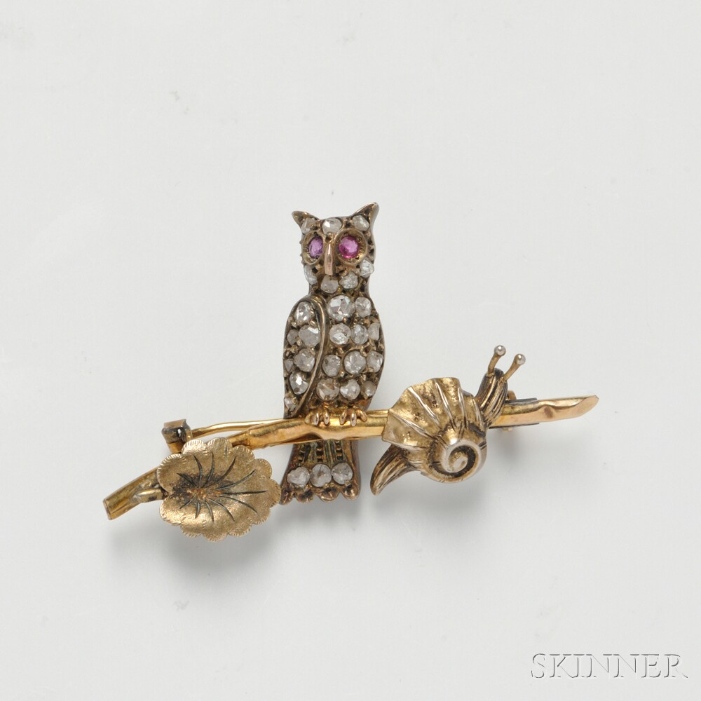 14kt Gold, Diamond, and Ruby Owl Brooch