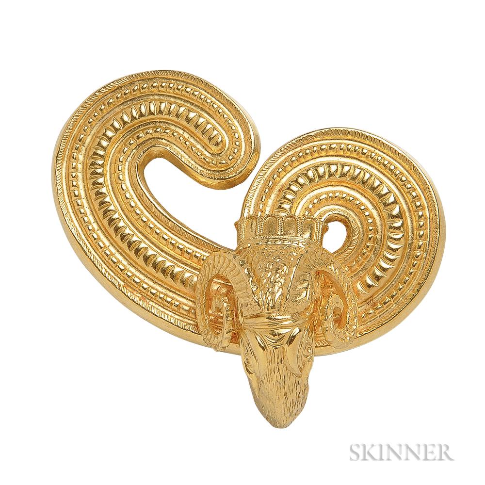 18kt Gold Ram's Head Brooch, Lalaounis