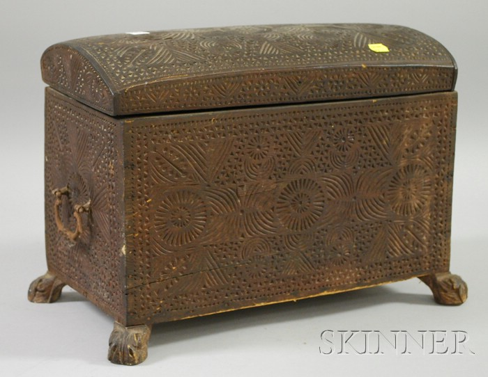 North African Chip-carved Wooden Dome-top Footed Box