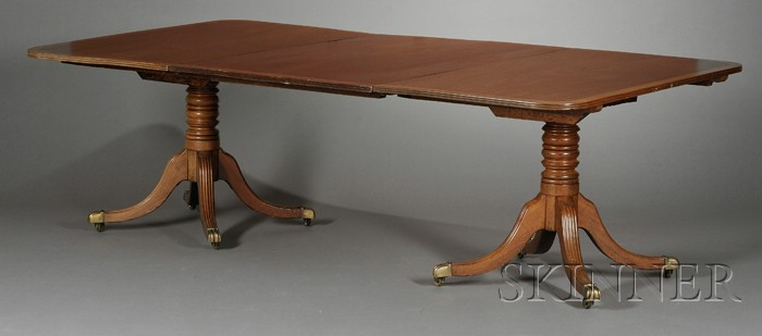 George III-style Inlaid Mahogany Two-pedestal Dining Table