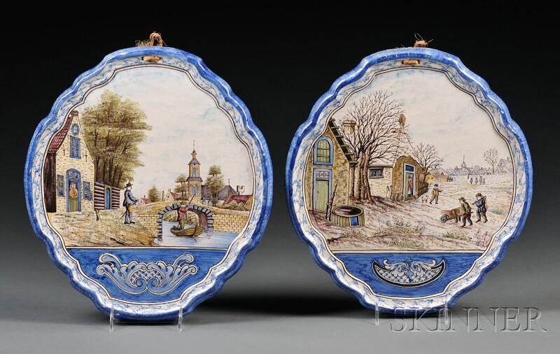 Two Dutch Delft Wall Plaques