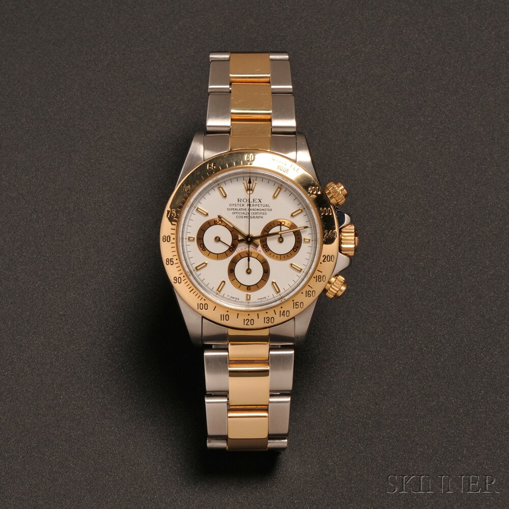 "18kt Gold and Stainless Steel ""Daytona Cosmograph"" Wristwatch, Rolex"