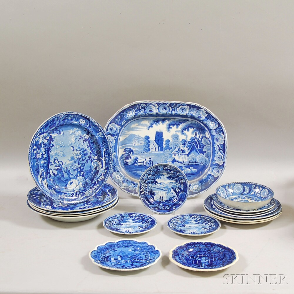Group of Blue Transfer-decorated Tableware