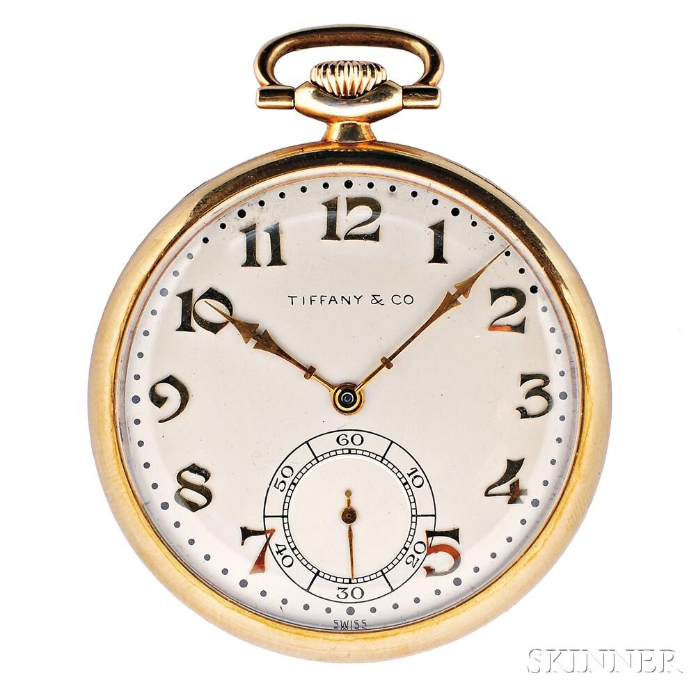 14kt Gold Open Face Pocket Watch, Tiffany & Co.