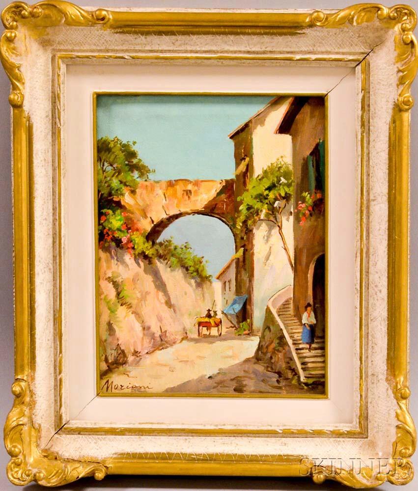 Italian School, 20th Century      Village Scene with Arch