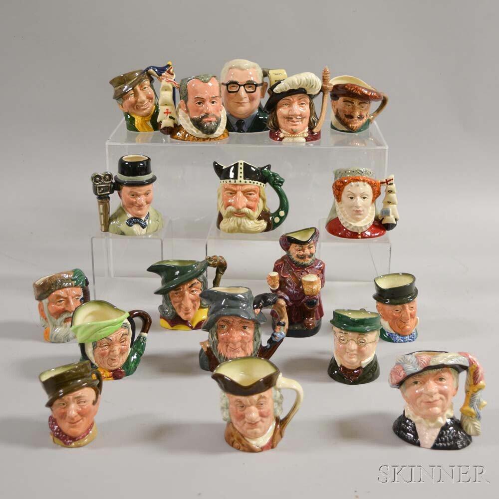 Eighteen Small Royal Doulton Ceramic Character and Toby Jugs.     Estimate $300-500