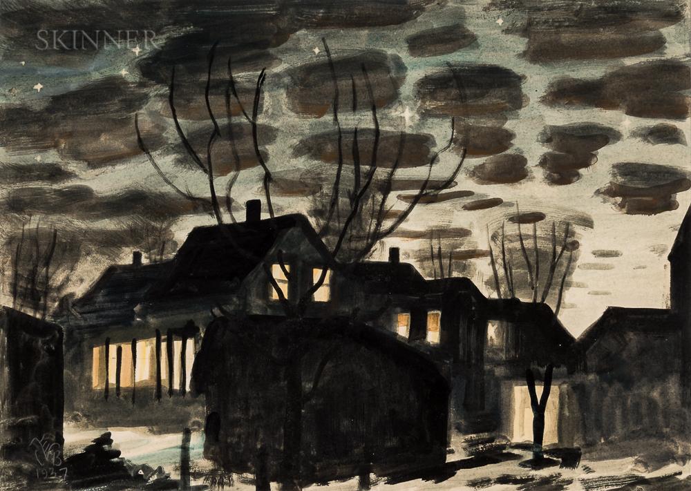 Charles Ephraim Burchfield (American, 1893-1967)      Night in Gardenville