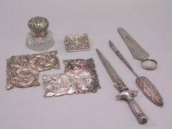 Group of Nine Sterling Silver and Silver Plated Desk Articles.