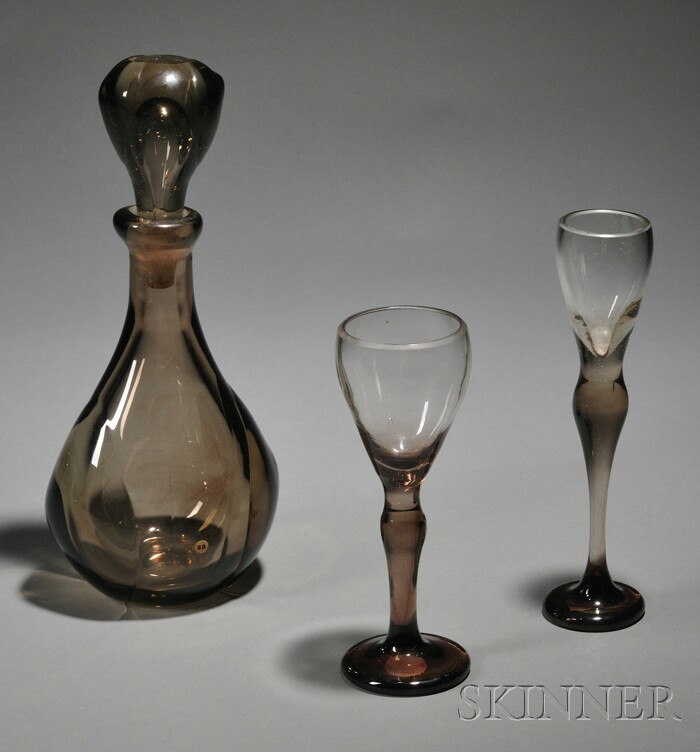 Dominick Labino (1910–1987) Glass Decanter and Two Goblets