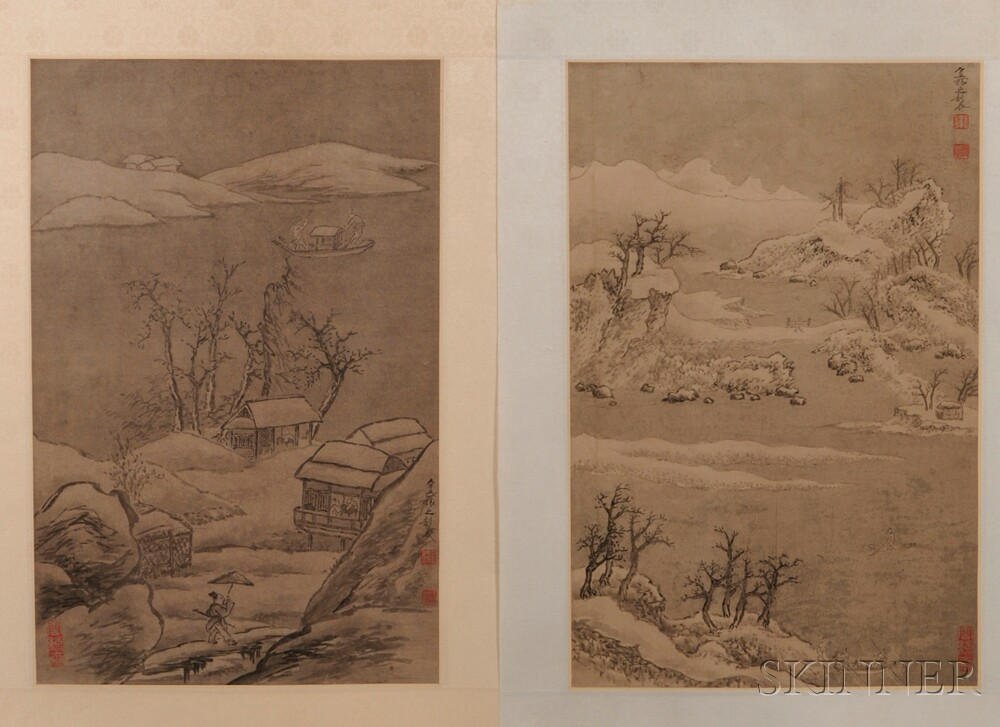 Series of Seven Paintings Depicting Landscapes