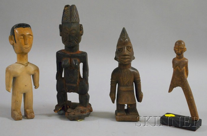 Three Ibeji Dolls and a Lobi Carved Wooden Slingshot