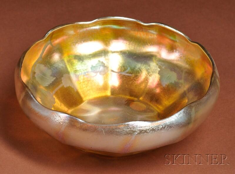 Tiffany Intaglio-cut Gold Favrile Bowl