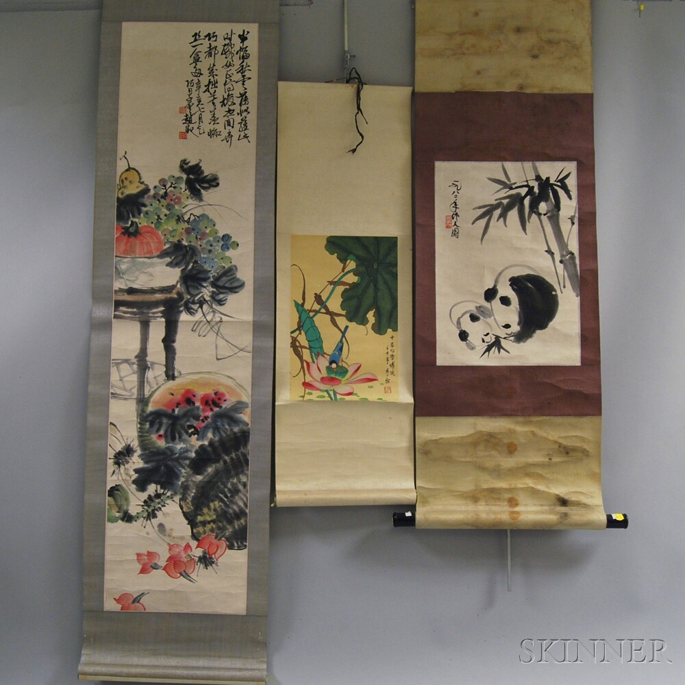Six Chinese Hanging Scrolls